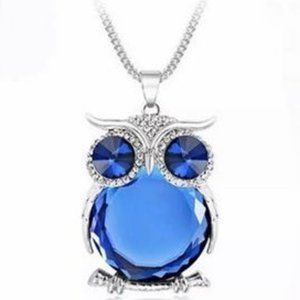 Royal Blue Stone Silver Rhinestone Owl Necklace